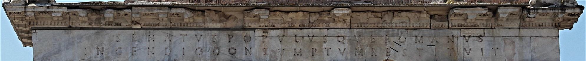 Roman Forum guidebook discusses SPQR on the Temple of Saturn