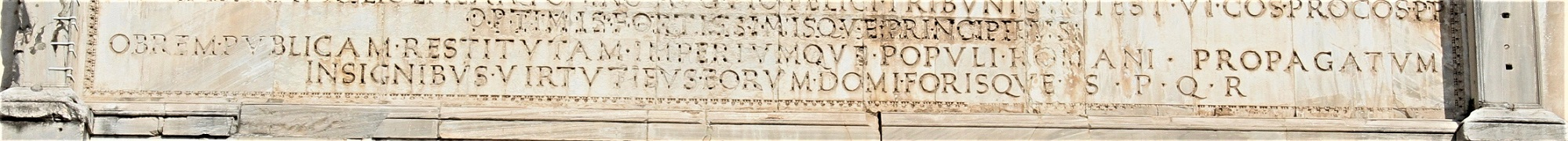 Roman Forum guidebook explains SPQR on the Arch of Septimius Severus seen here in the picture