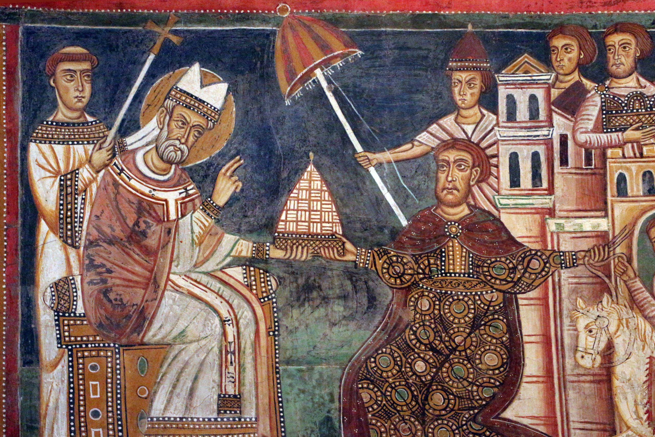 Medieval art in Sylvester Chapel at Santi Quattro Coronati near San Clemente