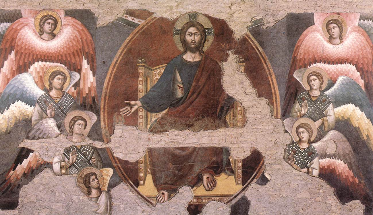 A fresco from the late Middle Ages by artist Cavallini in the choir of Saint Cecilia, Trastevere