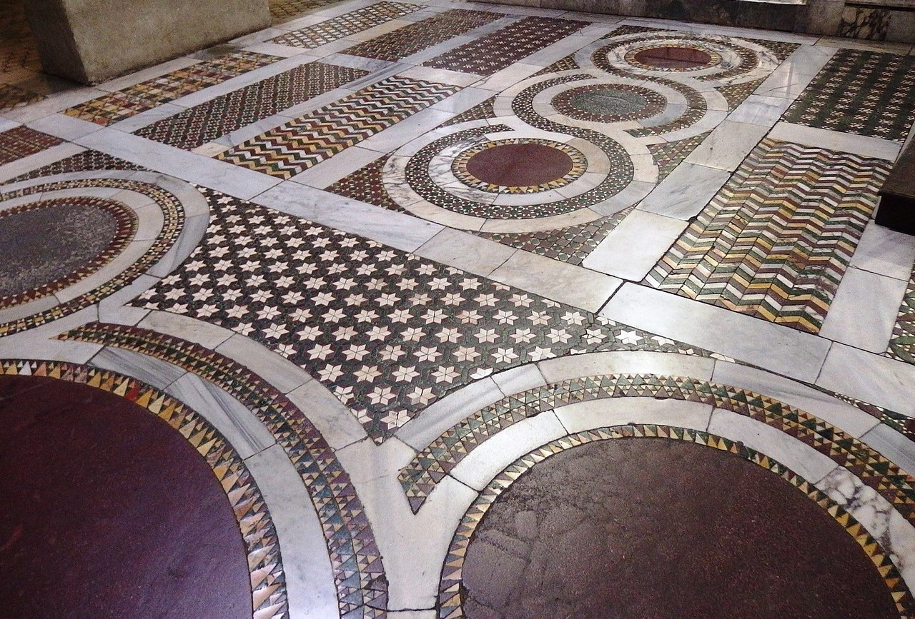 cosmatesque pavement in the Medieval Church of Saint Mary in Cosmedin near Trastevere