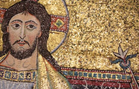 Christ in an Early Christian Church Mosaic glittering with gold tessera