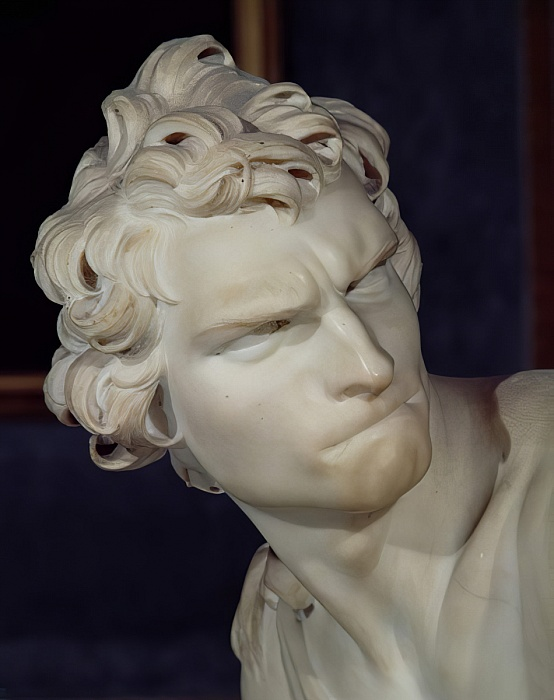Bernini's David in the Borghese Gallery, the apex of Roma Barocca with his grimace of intense concentration