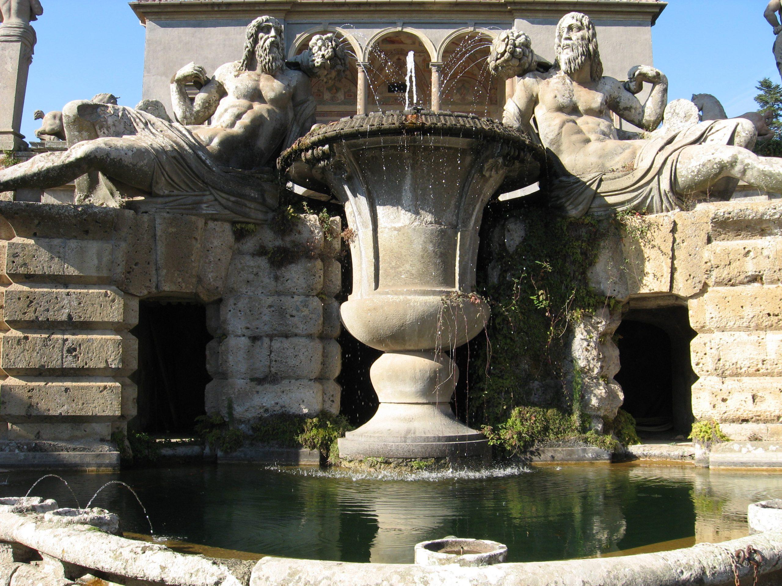 a fountain in the gardens of villa farnese near viterbo
