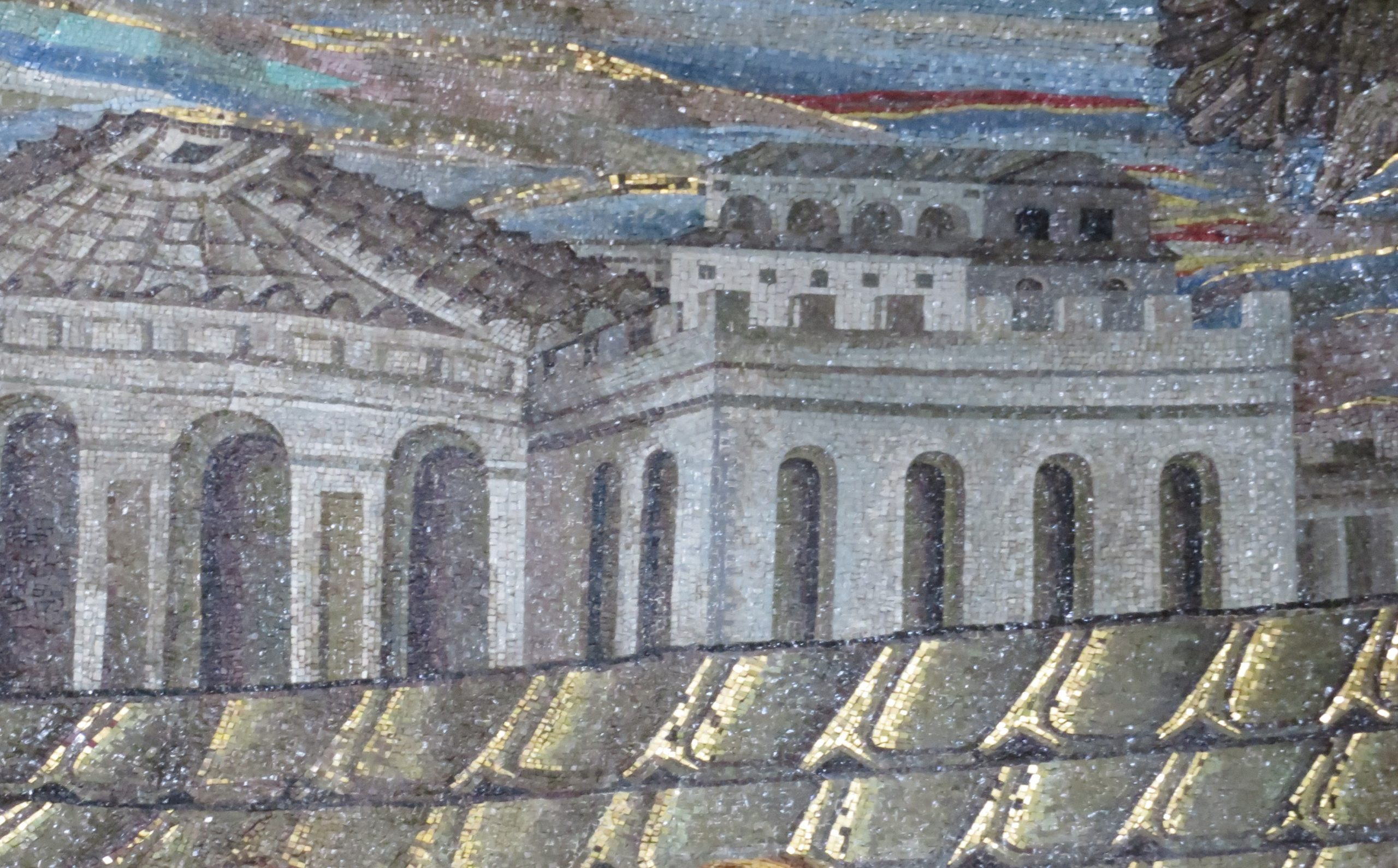 Early Christian Church Mosaic from the late 4th century A.D. in Rome shows ancient cityscape