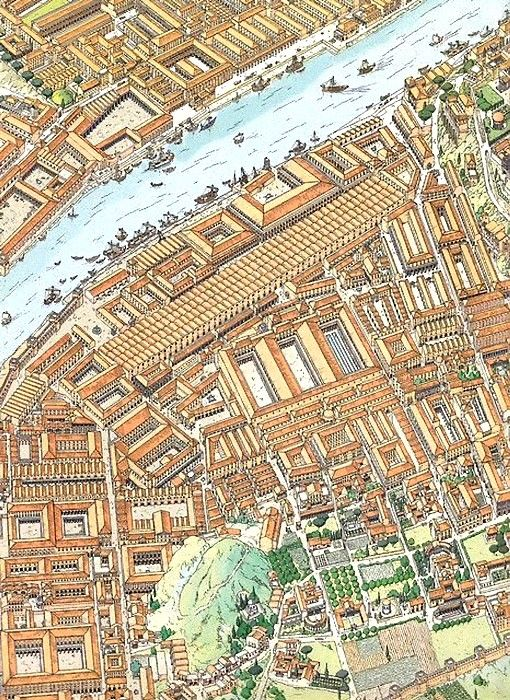 a detail from a map of imperial rome, with monte testaccio and the ancient industrial zone's harbor, wharves, warehouses, etc.