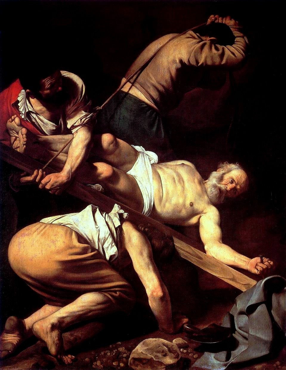 Caravaggio's Baroque paintings include the Martyrdom of Saint Peter in the Church of Santa Maria del Populo in Rome