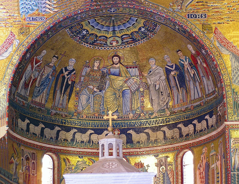 apse art and mosaics of Saint Mary in Trastevere from the Middle Ages
