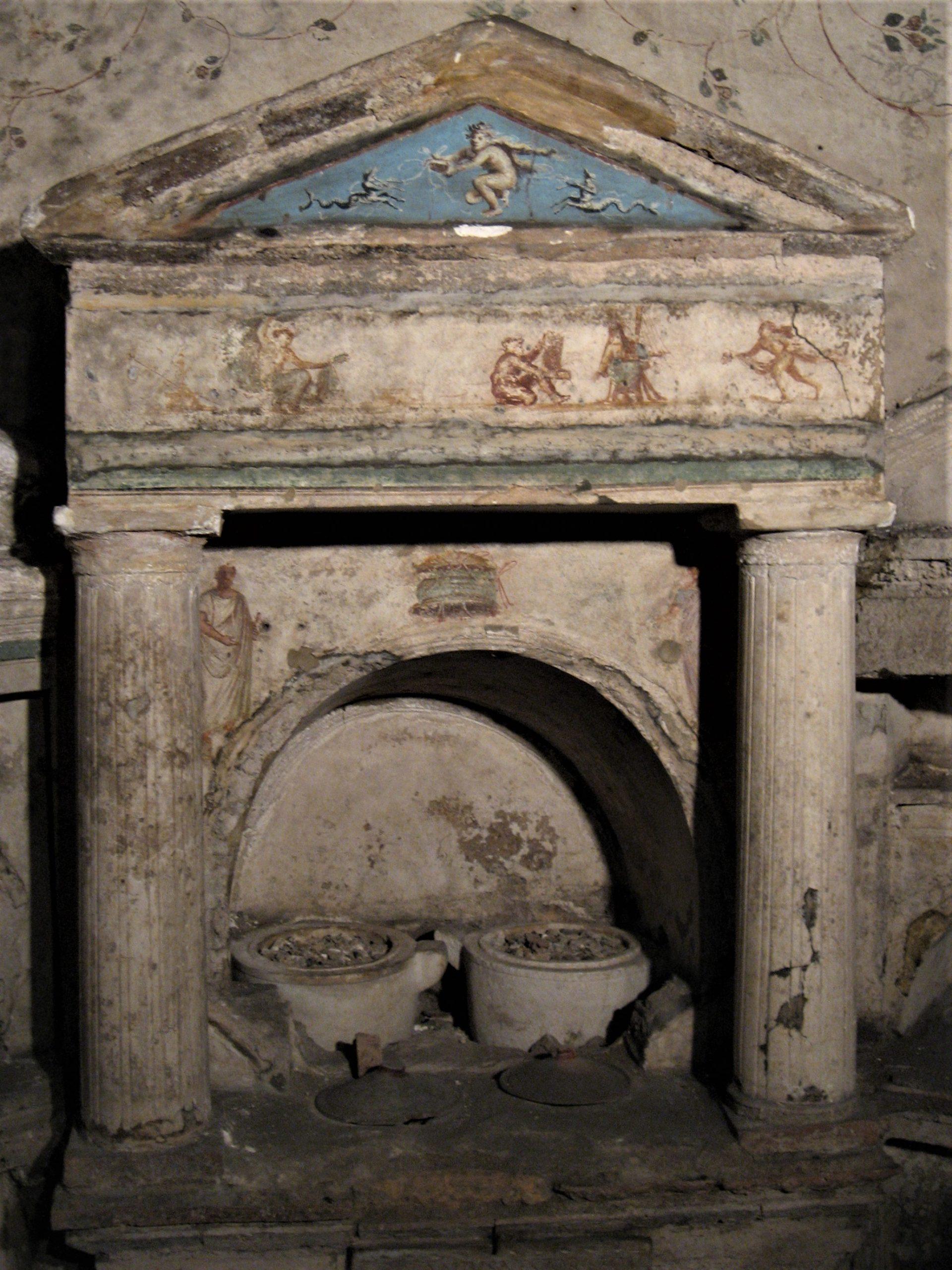 a niche in the Columbarium containing ash urns