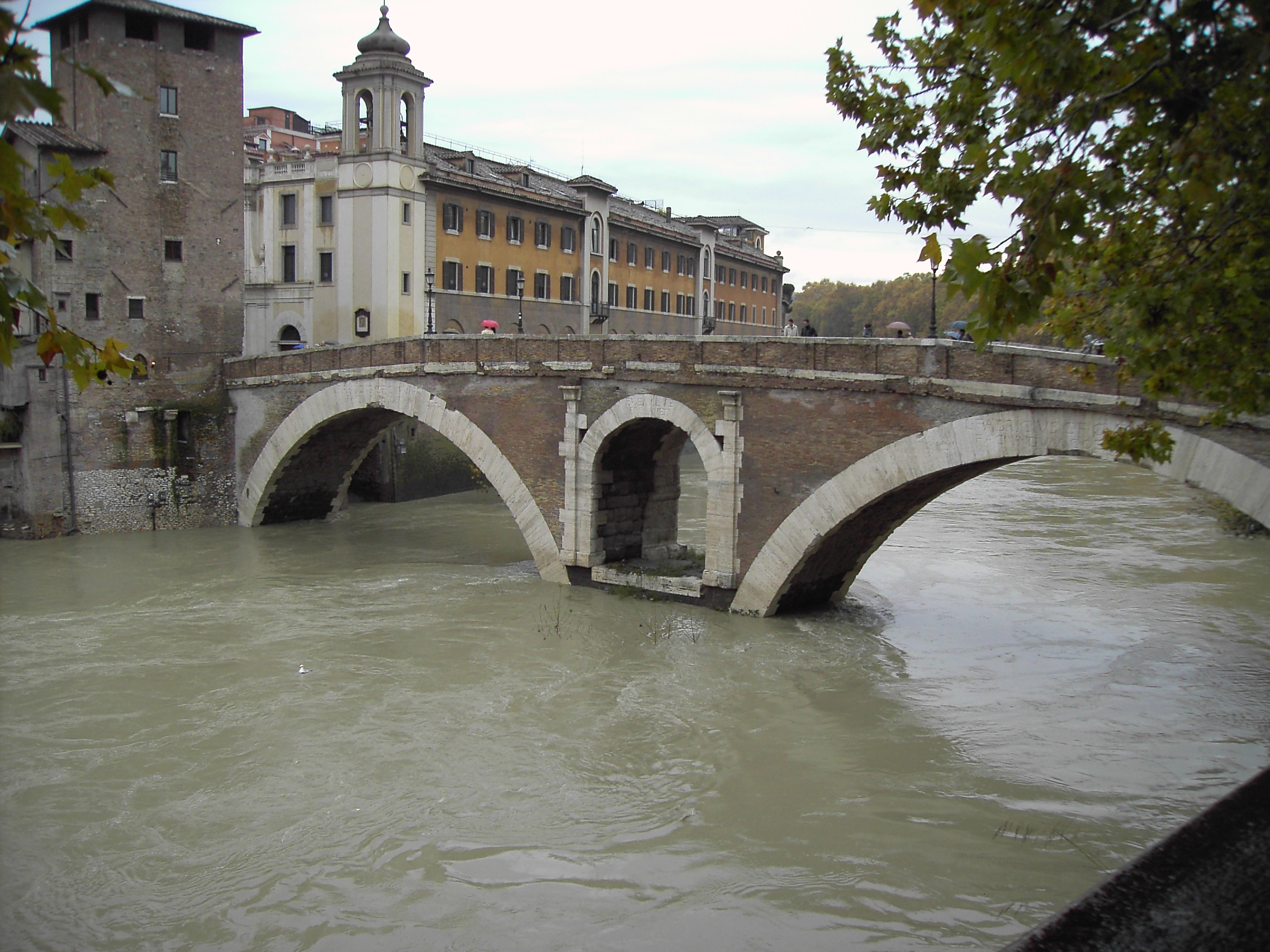 Fabricius's bridge from the end of the first century A.D. connecting Rome to Tiber Island