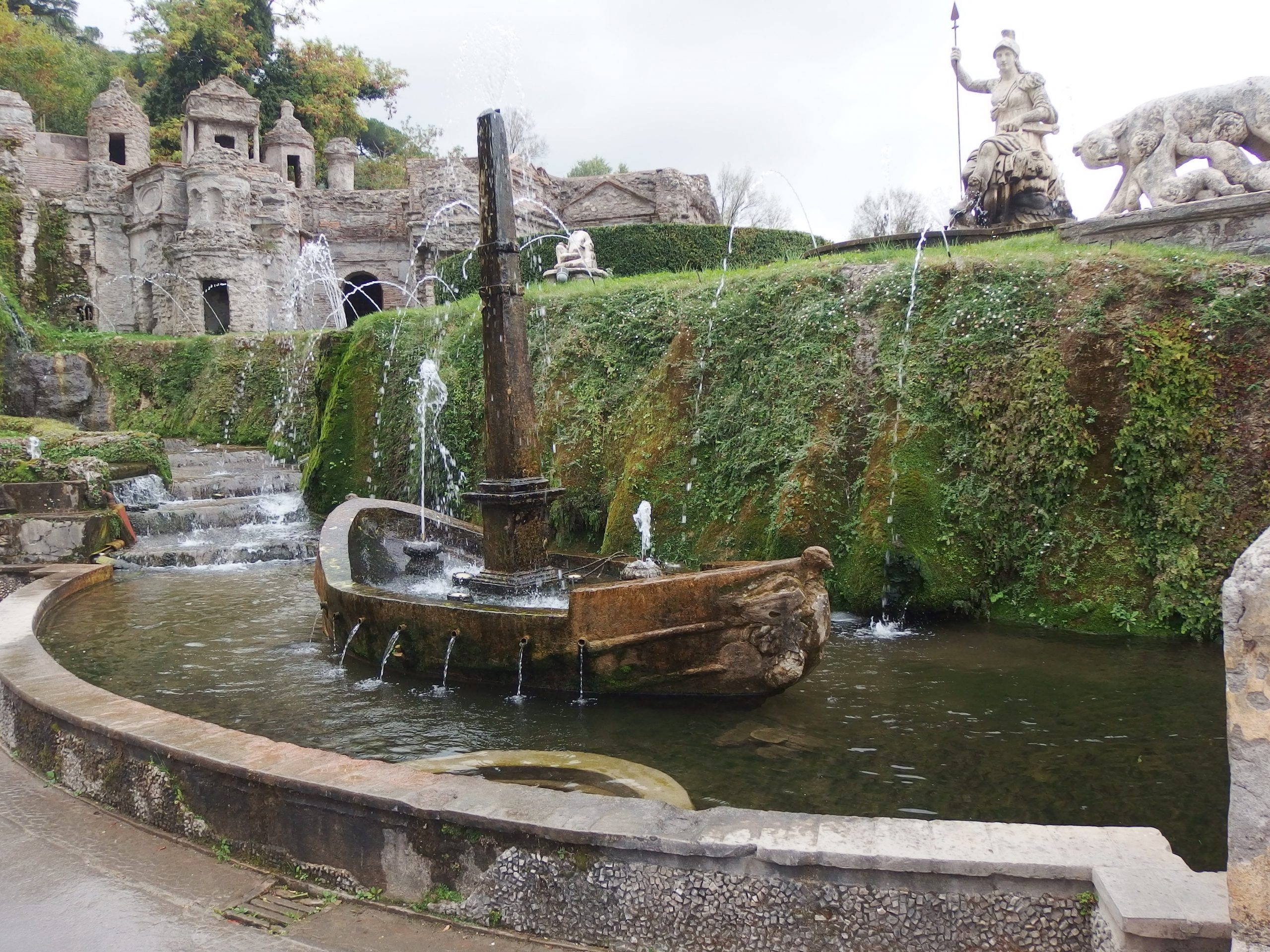 a detail of the fountain symbolizing Rome, the Tiber River, and its island