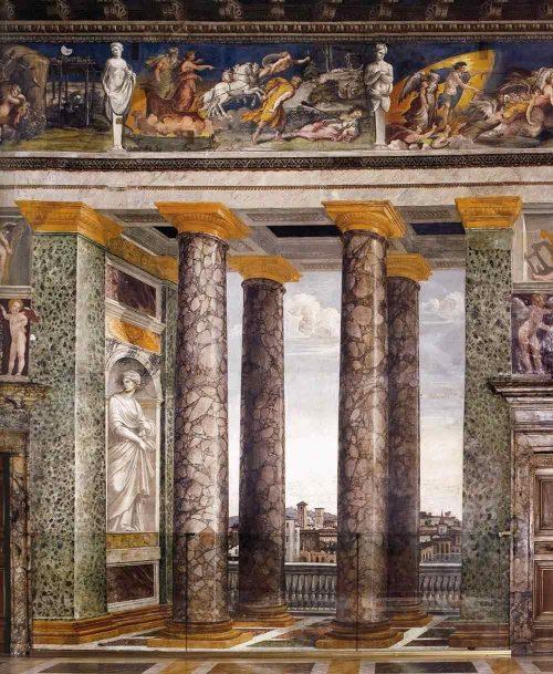Villa Farnesina Renaissance art by Peruzzi in the dining room