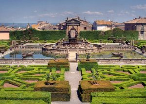 the terraced gardens of Villa Lante with Italian box myrtle cut into labyrinths
